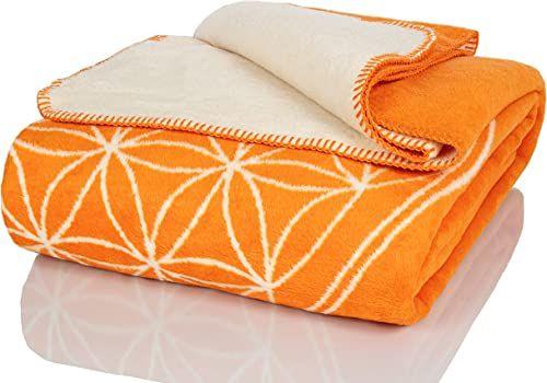 Glart Koc przytulny kwiat życia pomarańczowy-ecru XL 150 x 200 cm sofa, miękki i ciepły koc wełniany bardzo puszysty jako narzuta na sofę, przytulny koc do przytulania, pluszowy koc na sofę