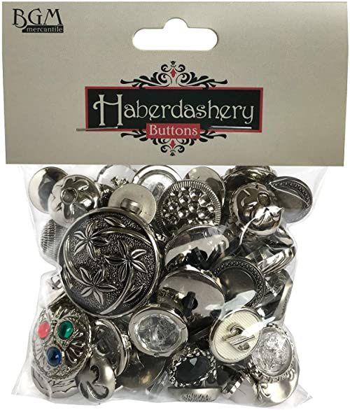 Buttons Galore Haberdashery guziki w stylu vintage, 90 g, srebrne