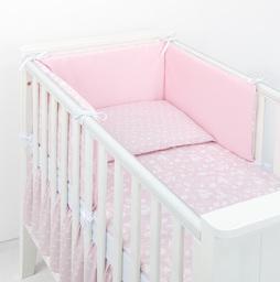 MAMO-TATO 2-el dwustronna pościel dla niemowląt LUX Las pastelowy róż / plamki pastelowy róż