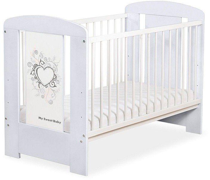 Łóżeczko drewniane Szare serduszko, 5010061-My Sweet Baby