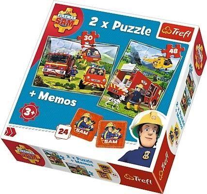 2x Puzzle + Gra memos - Strażak Sam - Strażacy w akcji