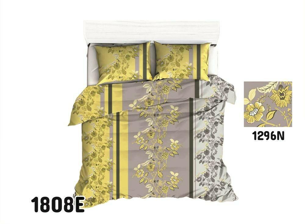 Pościel bawełniana 140x200 1808E kwiaty gałązki szara żółta orientalna 1296N