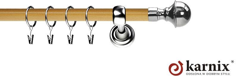 Karnisz Metalowy Prestige pojedynczy 25mm Bella INOX - pinia