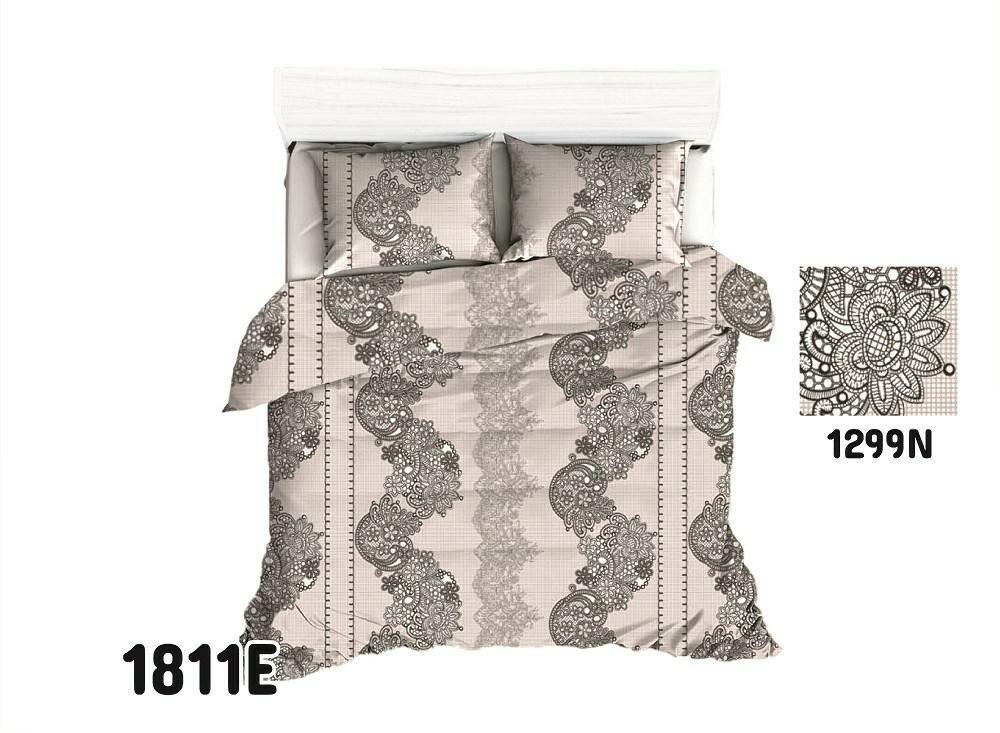Pościel bawełniana 140x200 1811E ornamenty orientalna beżowa czarna 1299N