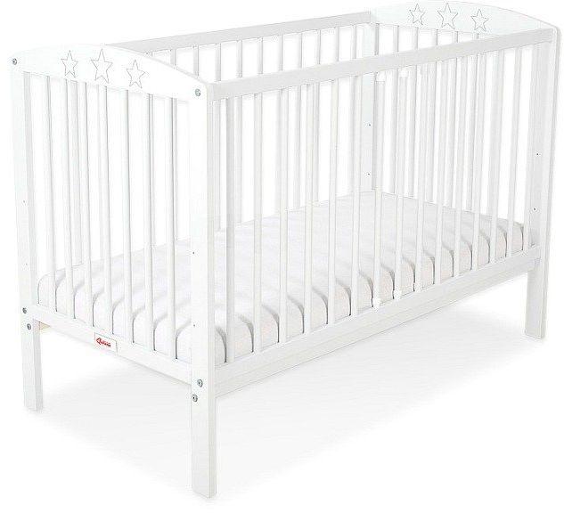 Łóżeczko drewniane Białe gwiazdeczki, 500207-Bobono