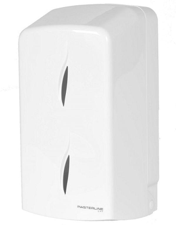 Podajnik na dwie rolki papieru toaletowego lub papier typu ZZ Bisk MASTERLINE Mini plastik biały