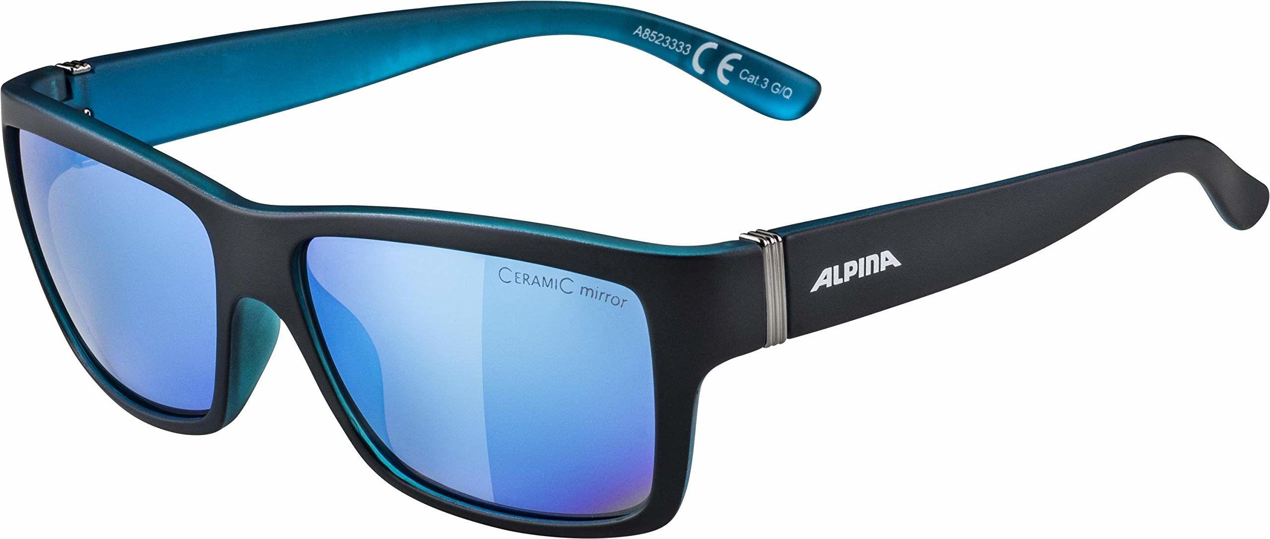ALPINA Unisex - Dorośli, KACEY Okulary przeciwsłoneczne, black matt-blue/blue, One Size