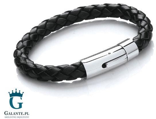 Czarna skórzana bransoleta męska t659