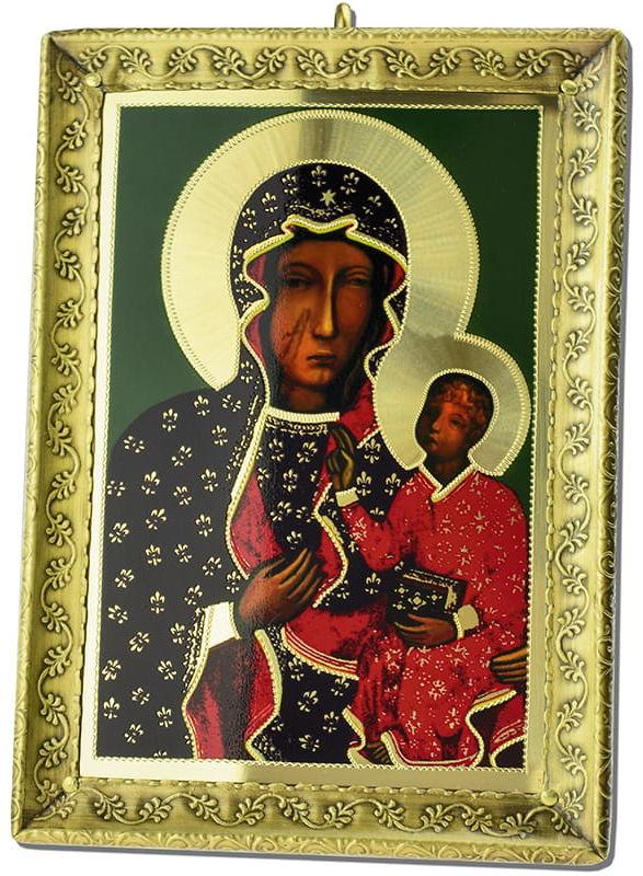 Metalowa ikona Matki Bożej Częstochowskiej