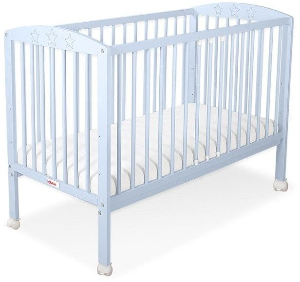 Łóżeczko drewniane z kółkami mobilne Niebieskie gwiazdeczki, 500203ZK-Bobono
