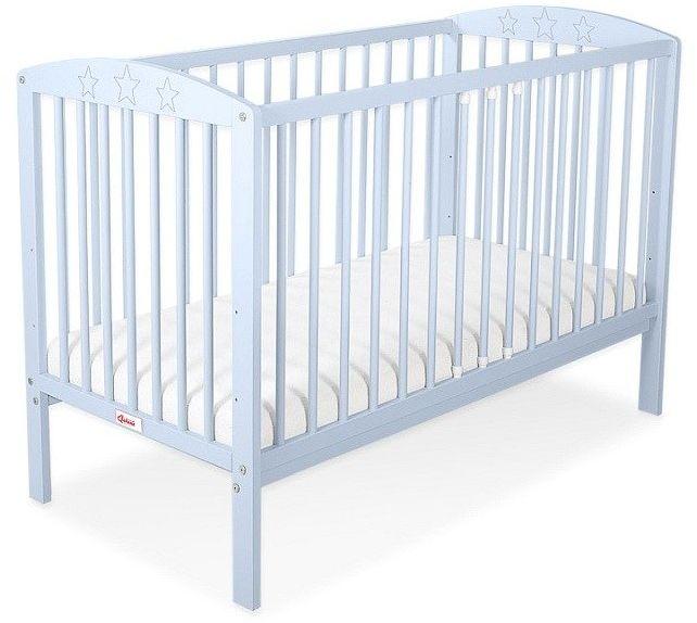 Łóżeczko drewniane Niebieskie gwiazdeczki, 500203-Bobono
