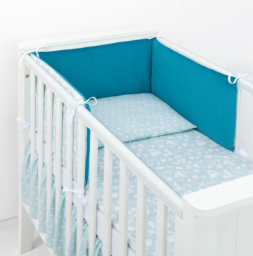 MAMO-TATO 2-el dwustronna pościel dla niemowląt LUX Las pistacjowy / plamki pistacjowe