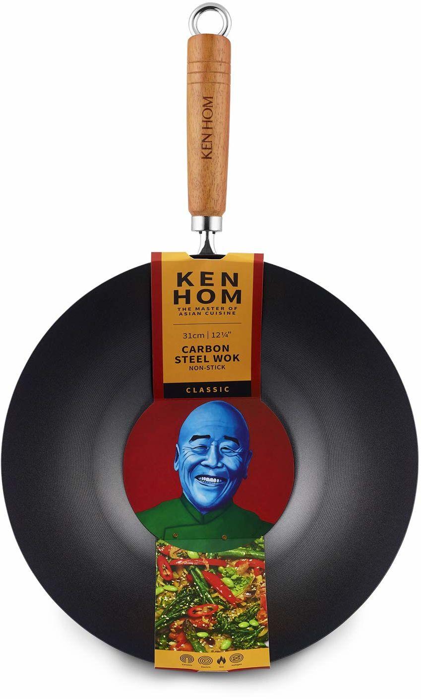 Ken Hom Classic Wok nieprzywierający, stal węglowa, czarna, 31 cm
