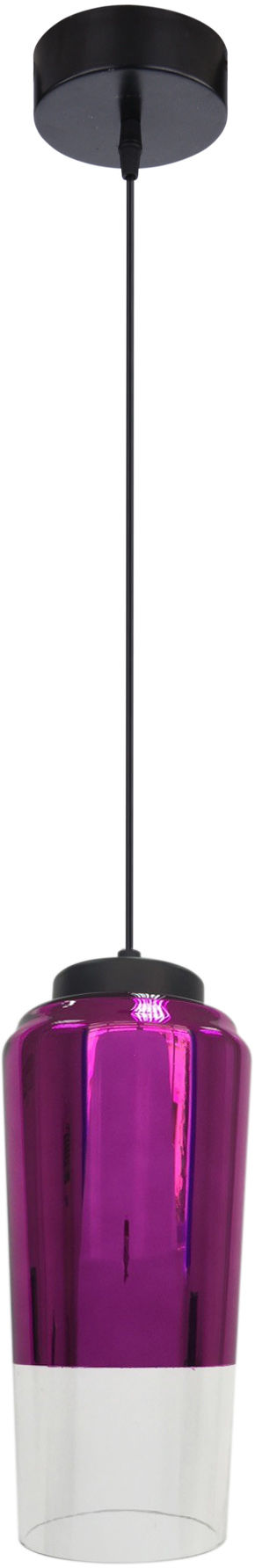 Candellux TUBE 31-51288 lampa wisząca dwukolorowy klosz szklany fioletowy na zawiesiu 1X60W E27 13 cm