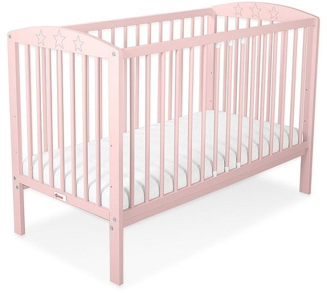 Łóżeczko drewniane Różowe gwiazdeczki, 500201-Bobono
