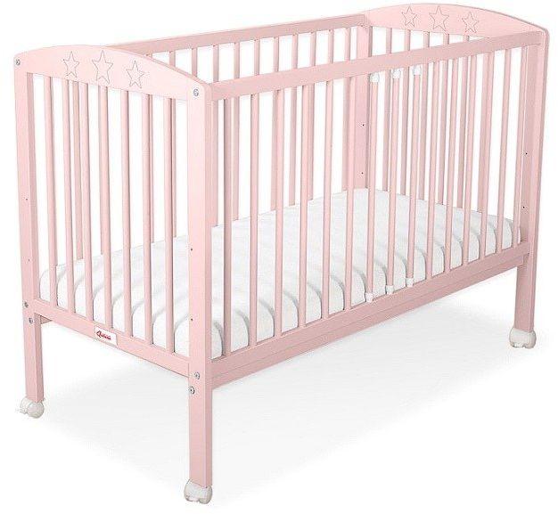 Łóżeczko drewniane z kółkami mobilne Różowe gwiazdeczki, 500208ZK-Bobono