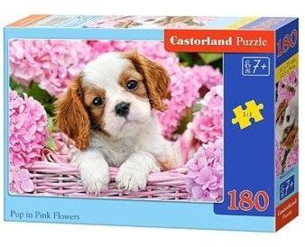 Puzzle Castorland 180 - Szczeniak w kwiatach, Pup in Punk Flowers