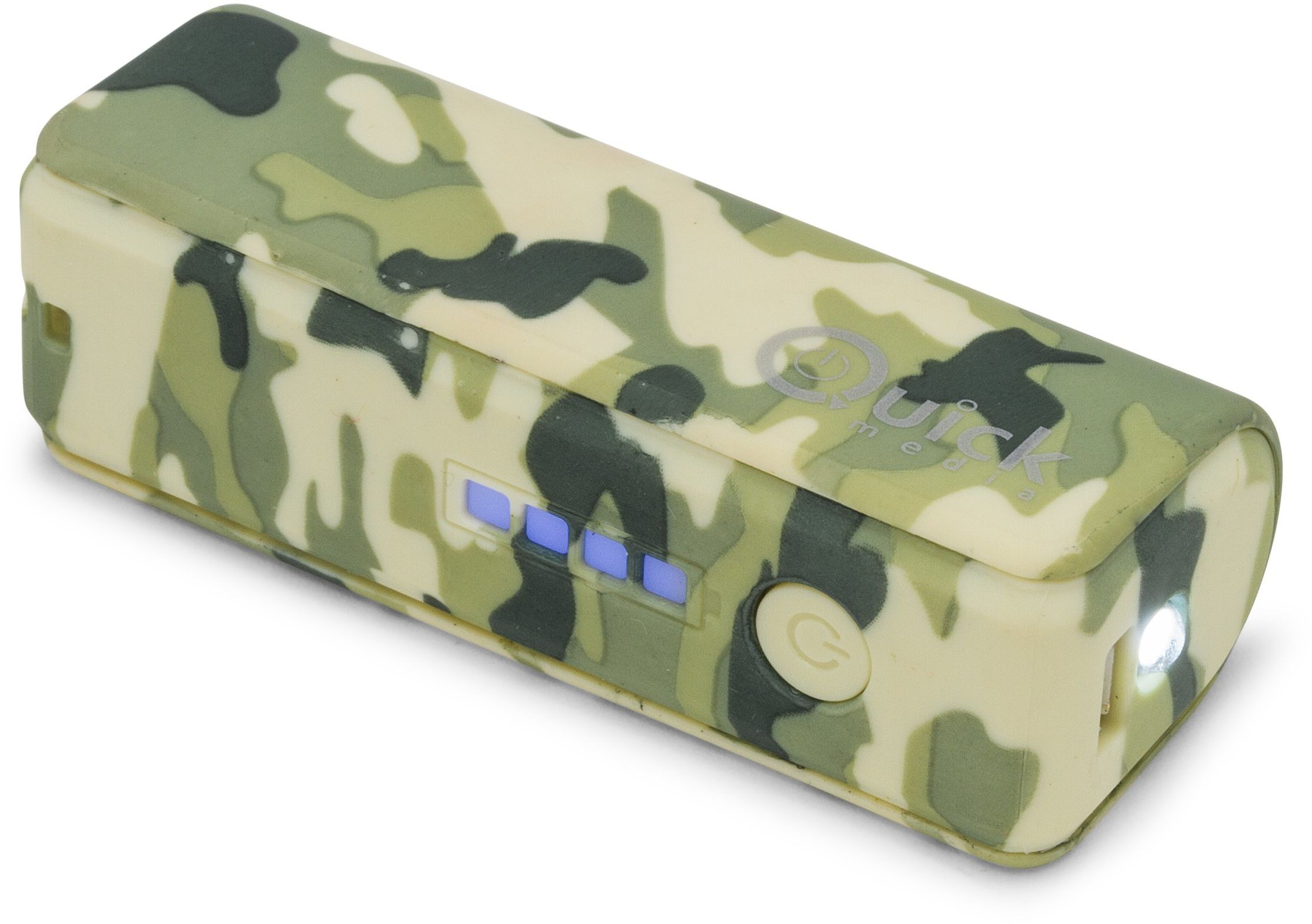Quick Media  Przenośna ładowarka/Power Bank 2600 mAh z latarką LED i wskaźnikiem obciążenia PB26 Army Design  kolor zielony