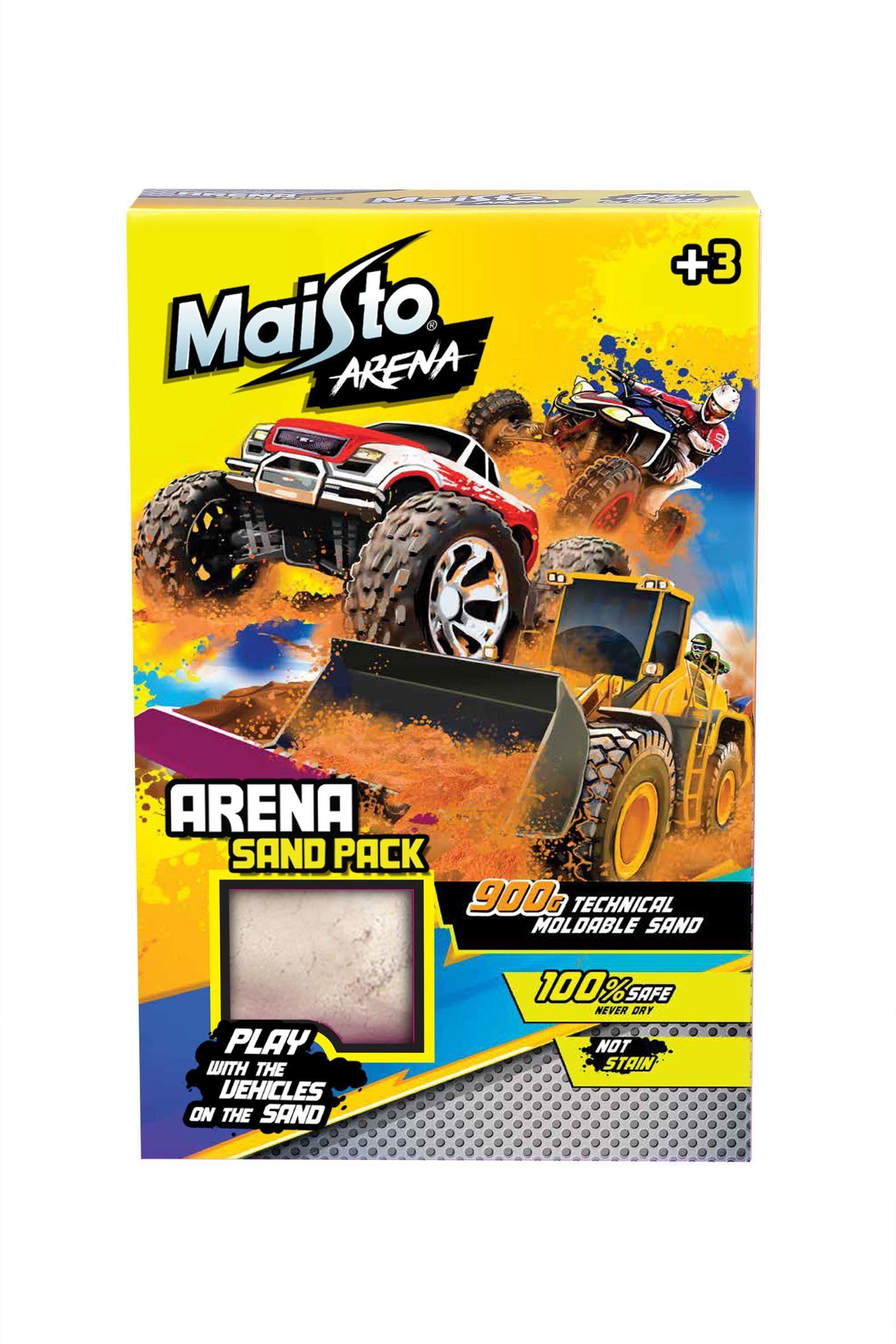 """Maisto Arena """"Sand-Pack"""": zestaw uzupełniający piasek do zabawy zawiera 900 g piasku do zabawy z zabawkami samochodami (513505)"""