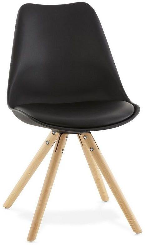 Kokoon design - krzesło tolik ze skórzanym siedziskiem - czarne