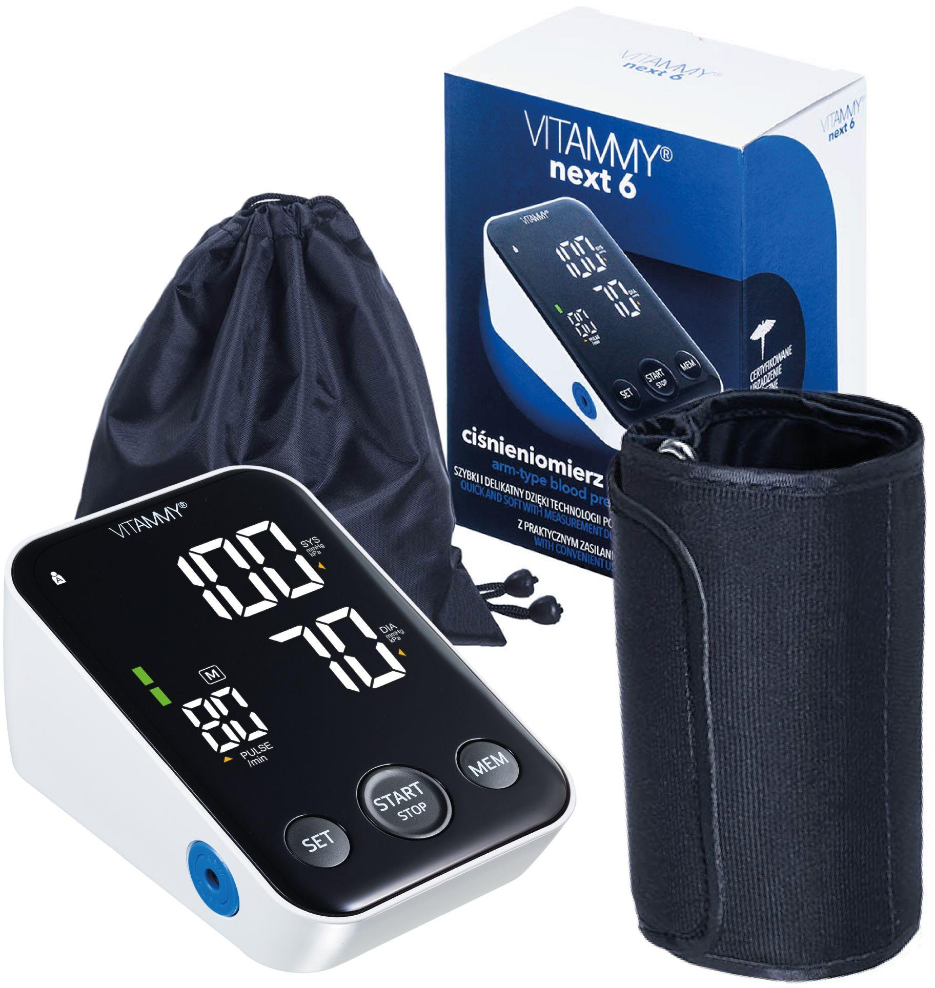 VITAMMY Next 6 Ciśnieniomierz naramienny z pomiarem podczas pompowania i funkcją głosową