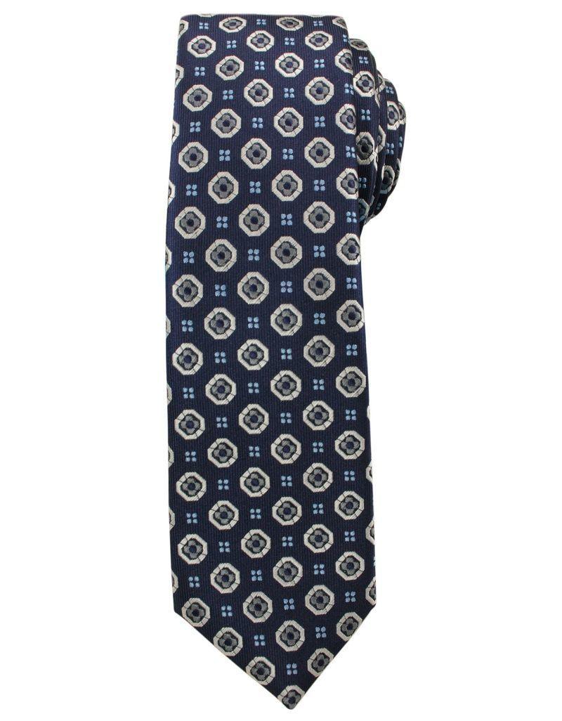 Modny i Elegancki Krawat Alties - Granat w Duże Grochy KRALTS0154