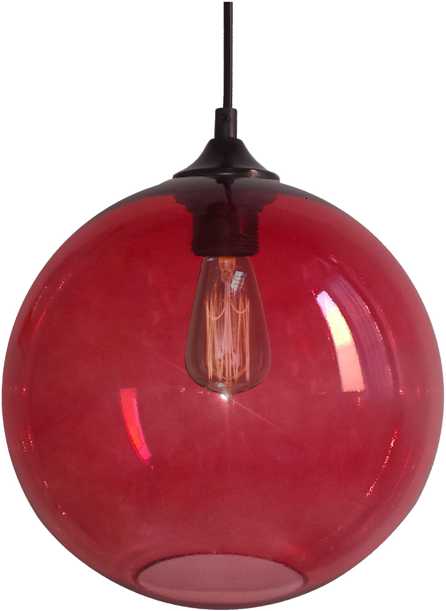 Candellux EDISON 31-21410 lampa wisząca szklany klosz czerwony 1X60W E27 25cm