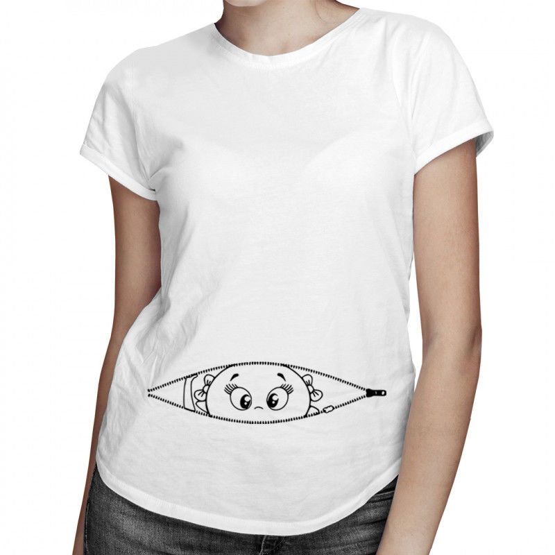 Koszulka ciążowa - zamek - damska koszulka z nadrukiem