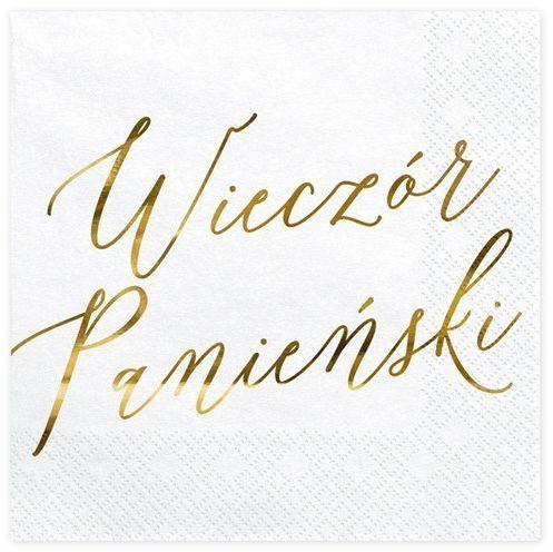 Białe serwetki Wieczór Panieński złoty napis 33cm 20 sztuk SP33-91-019ME