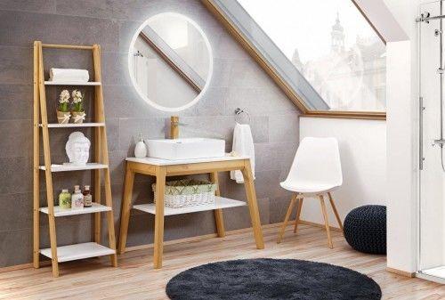 Zestaw mebli łazienkowych dębowy BASIC biały/dąb lustro LED