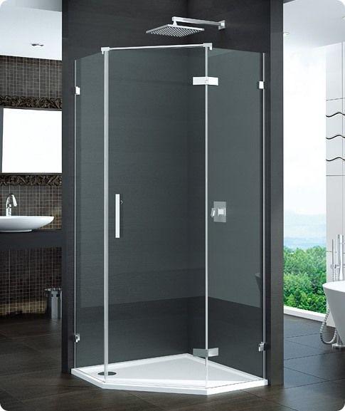 SanSwiss Pur PUR51 Drzwi 1-częściowe do kabiny 5-kątnej 45-100cm profil chrom szkło Pas satynowy Prawe PUR51DSM11051