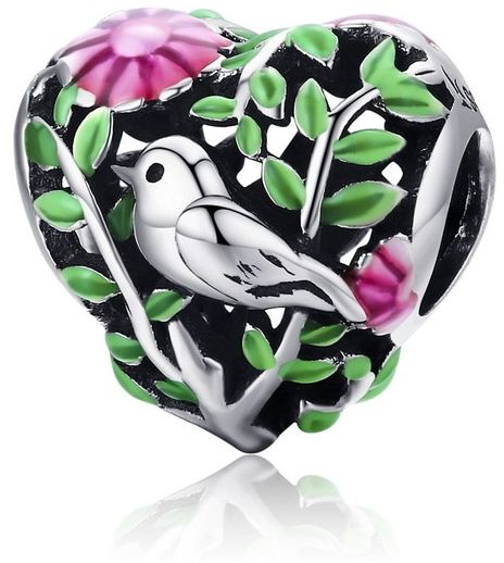 Rodowany srebrny charms do pandora serce heart ptaszek rajski ptak bird srebro 925 BEAD064