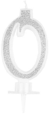 Świeczka cyferka 0 srebrna 9cm 420020