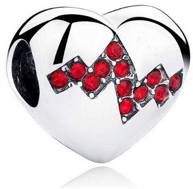 Rodowany srebrny charms do pandora serce serduszko heart linia życia tętno cyrkonie srebro 925 BEAD096