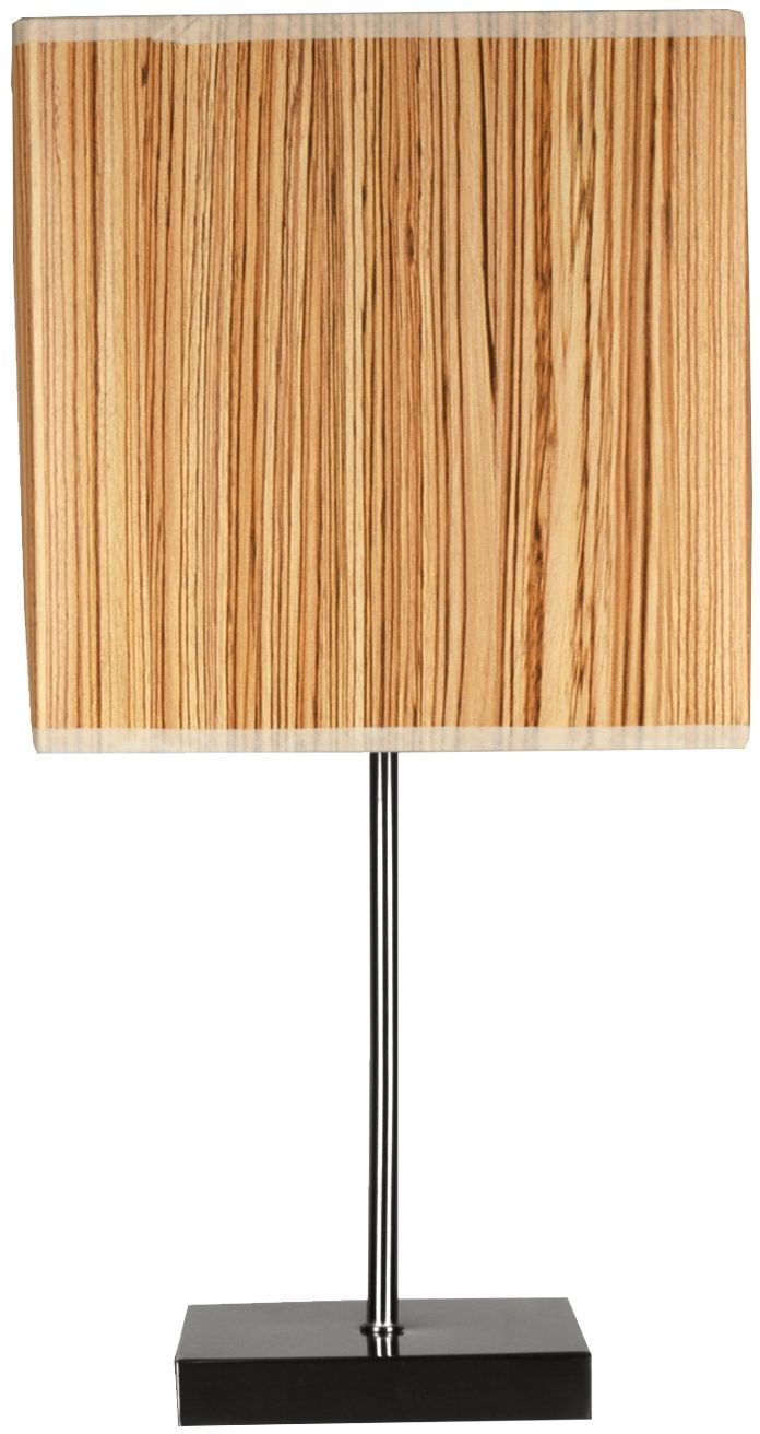 Candellux CAJMAN 41-57405 lampa stołowa abażur z tworzywa o fakturze drewna kwadrat 1X40W E14 20 cm