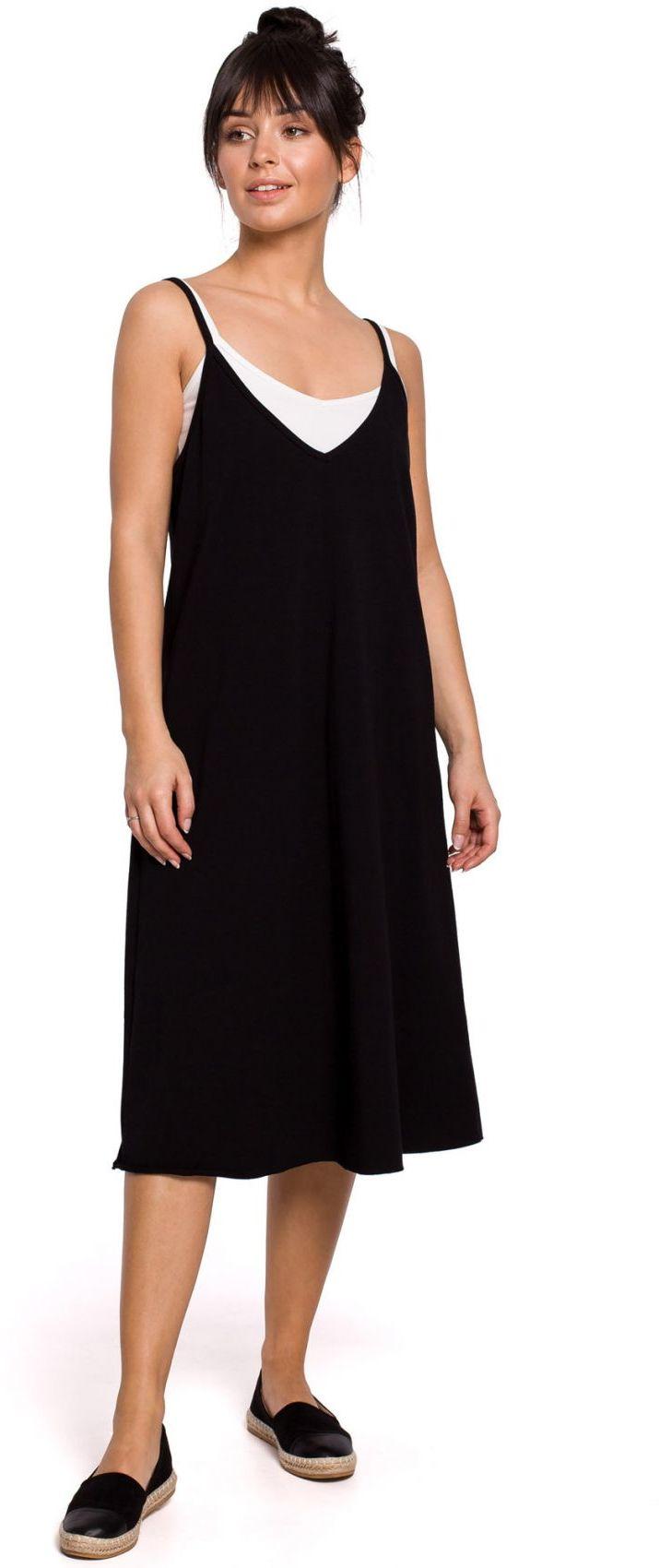 B154 Sukienka warstwowa na ramiączkach - czarna