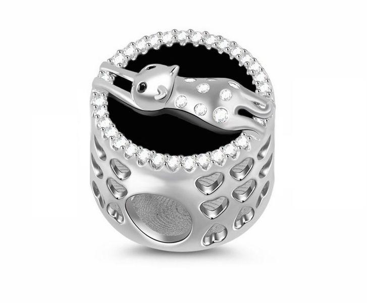 Rodowany srebrny charms do pandora leżący leniwy kot lazy cat cyrkonie srebro 925 NEW161