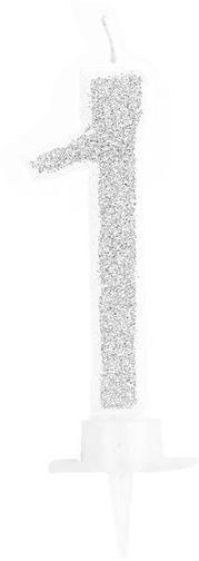 Świeczka cyferka 1 srebrna 9cm 420021