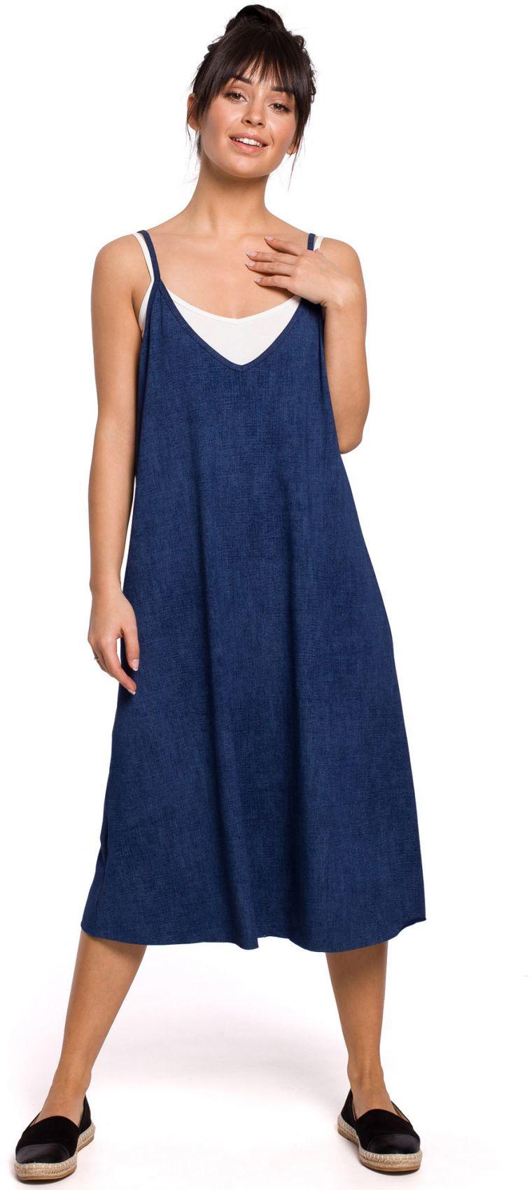 B154 Sukienka warstwowa na ramiączkach - denim