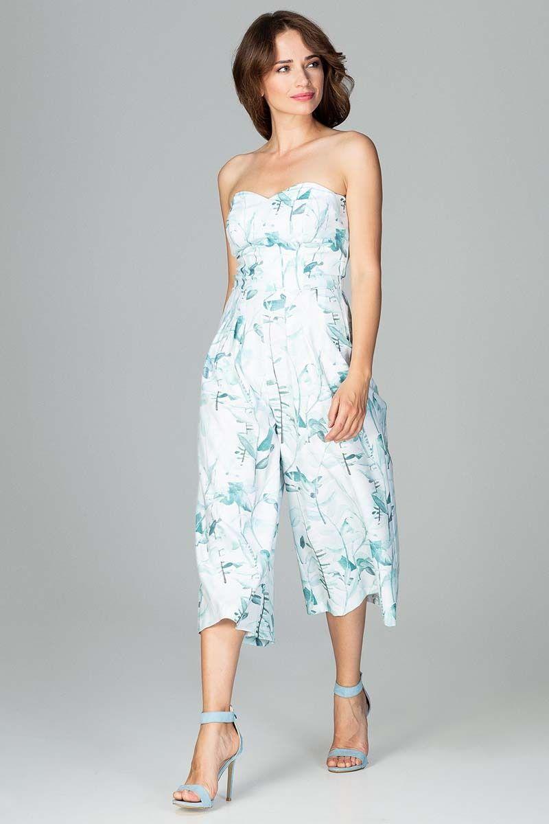 Kombinezon z odkrytymi ramionami ze spodniami typu culotte - wzór 92