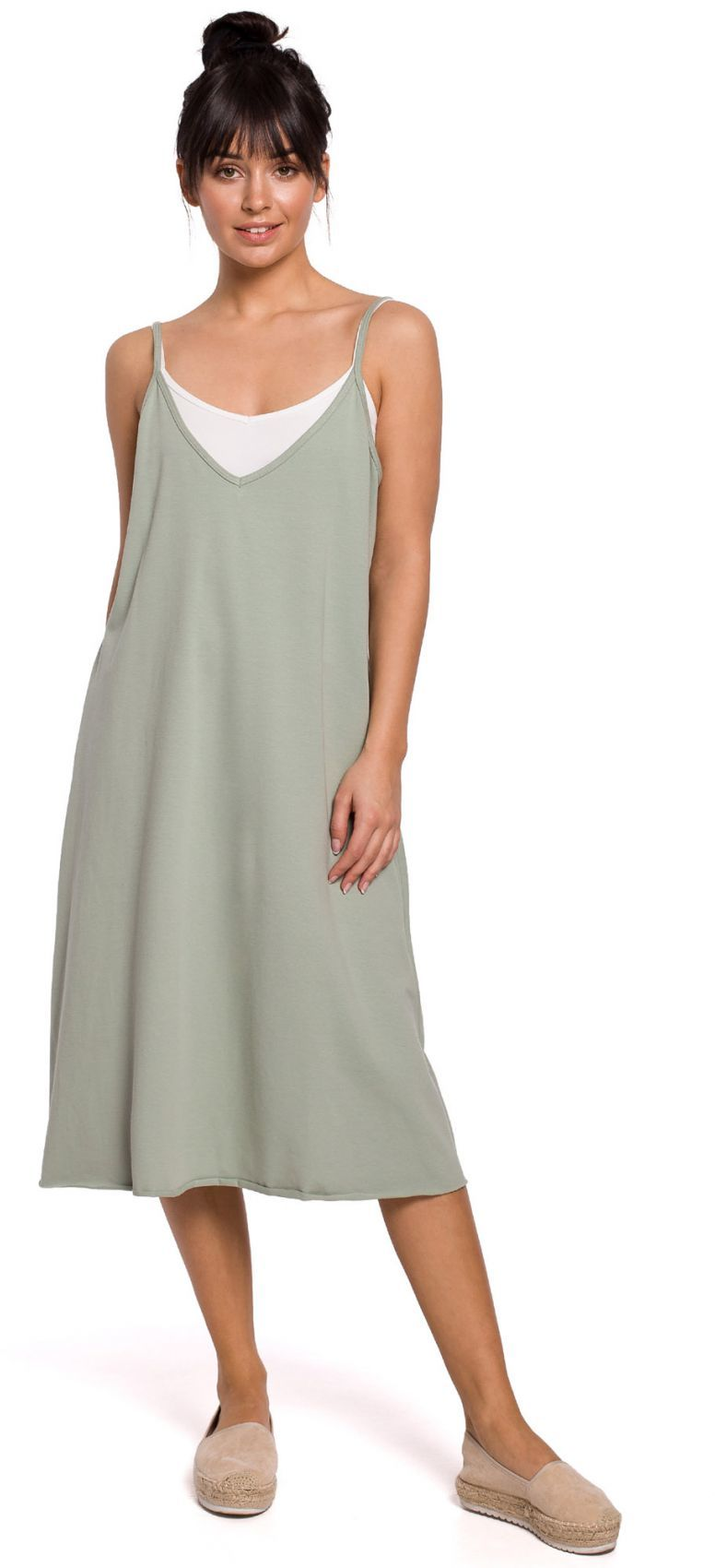 B154 Sukienka warstwowa na ramiączkach - pistacjowa
