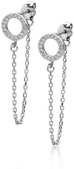 Delikatne rodowane srebrne wiszące kolczyki celebrytka kółka circle ring cyrkonie srebro 925 Z1723E