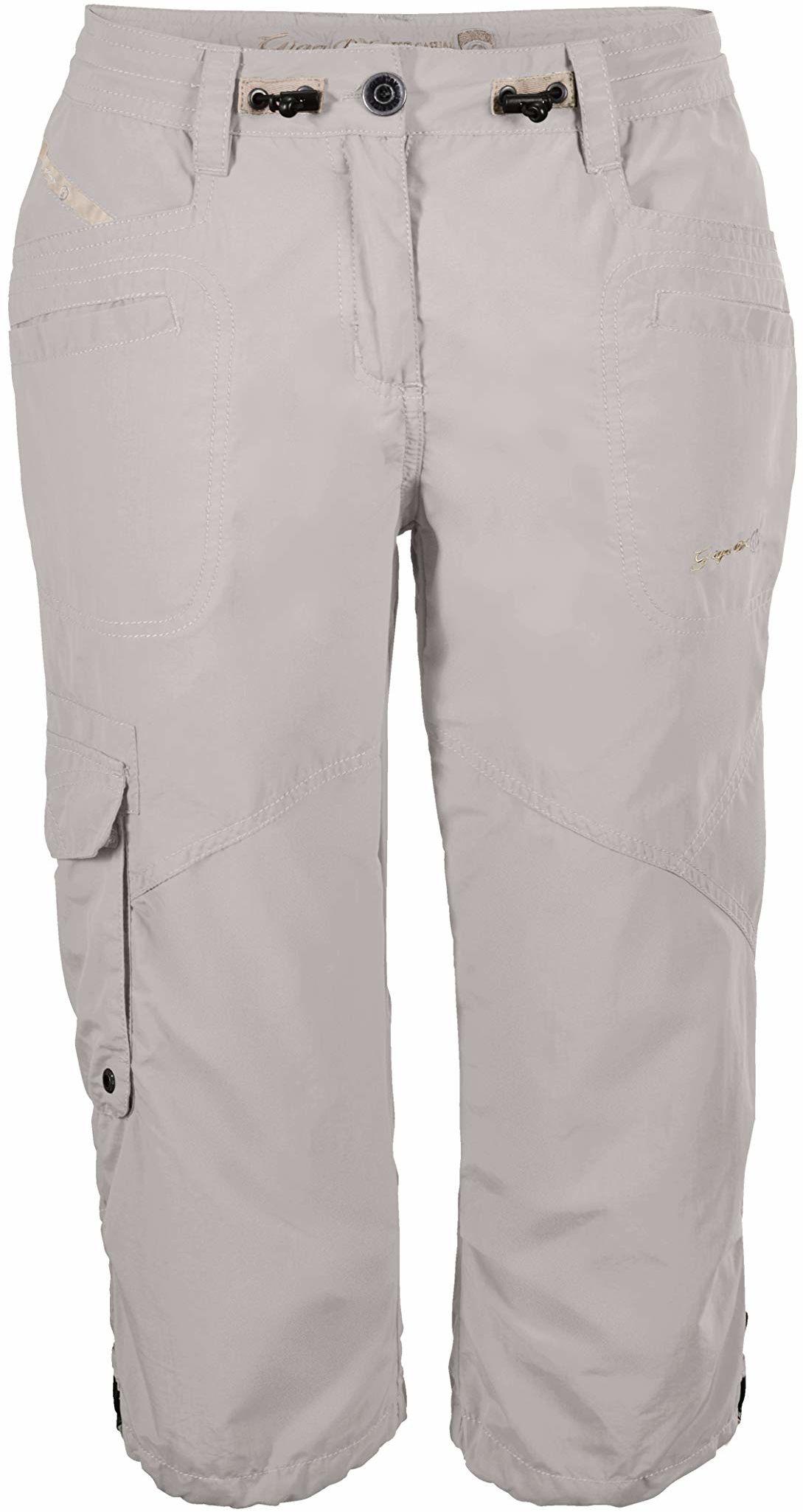 G.I.G.A. DX damskie spodnie typu Capri, 3/4 spodnie cargo na lato, regulowana szerokość w talii, białe, 46