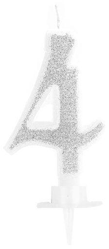 Świeczka cyferka 4 srebrna 9cm 420024