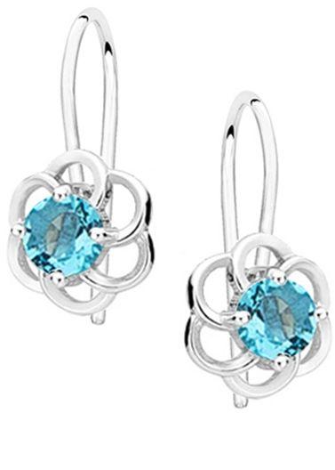 Eleganckie wiszące rodowane srebrne kolczyki kwiaty flowers błękitne cyrkonie srebro 925 Z1621D_AQ