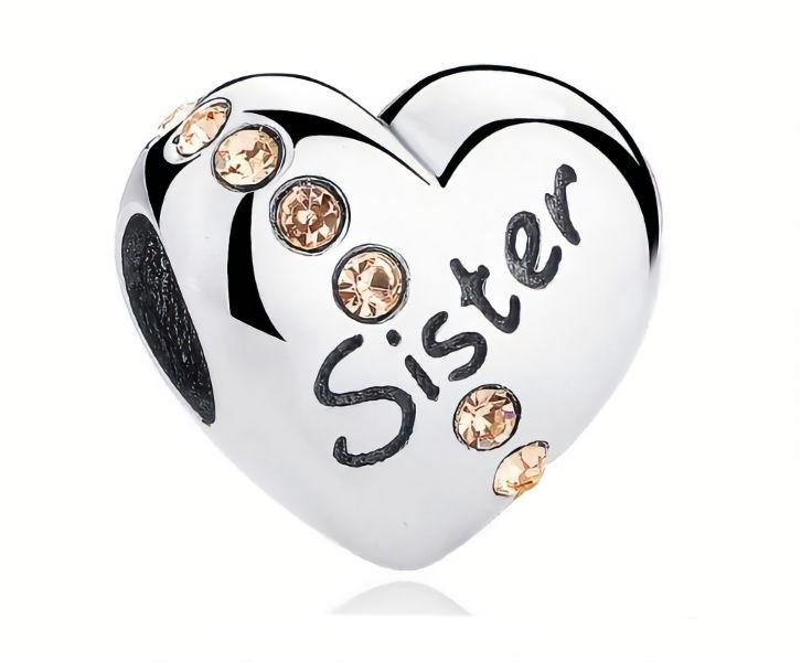 Rodowany srebrny charms do pandora serce heart siostra sister cyrkonie srebro 925 BEAD098
