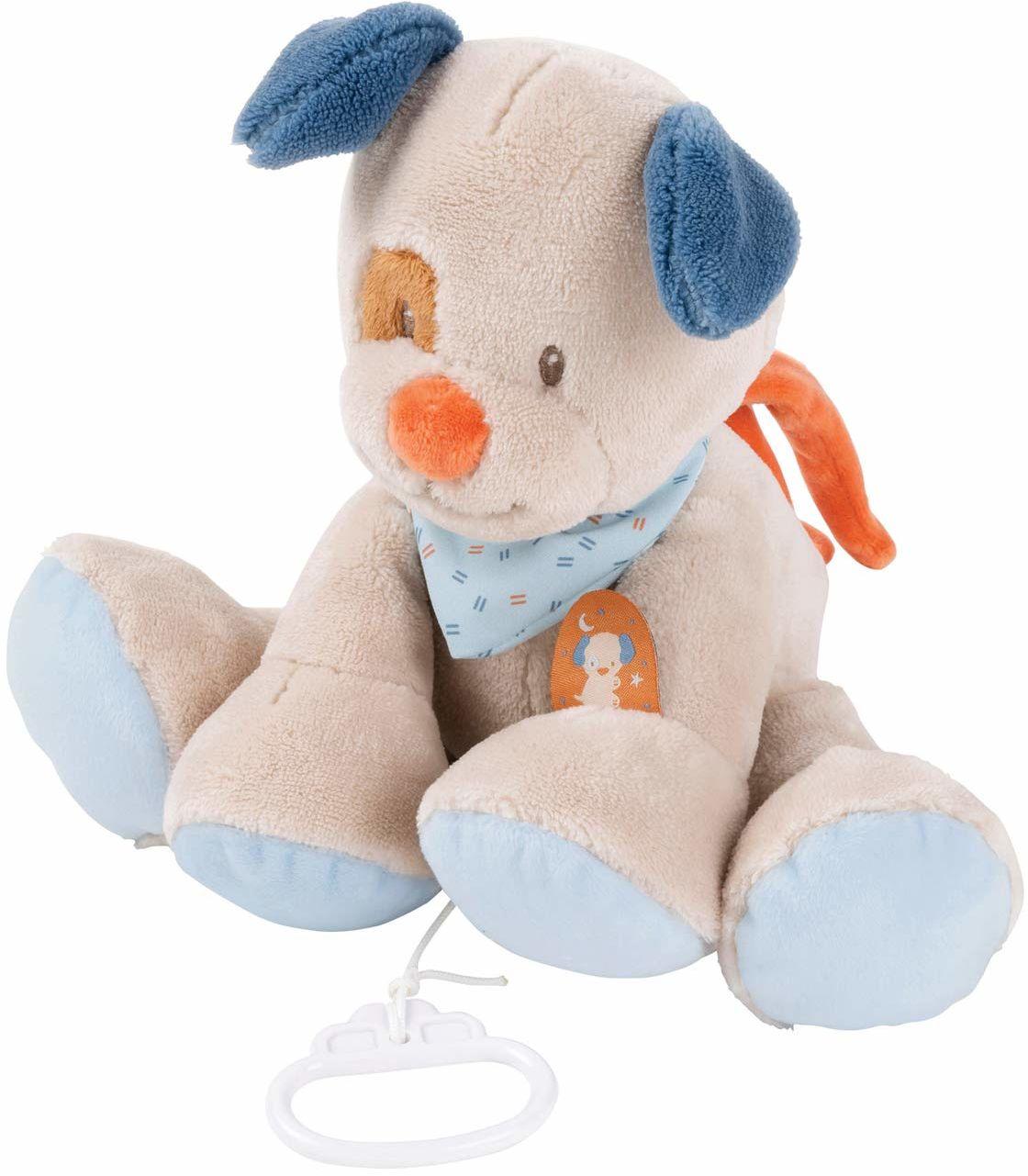 Nattou Pozytywka Pies Jim, Wiegelied La-Le-Lu , ok. 30 cm, Jim i Bob, beżowy/niebieski/brązowy