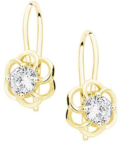 Eleganckie wiszące pozłacane srebrne kolczyki kwiaty flowers białe cyrkonie srebro 925 Z1621D_GW