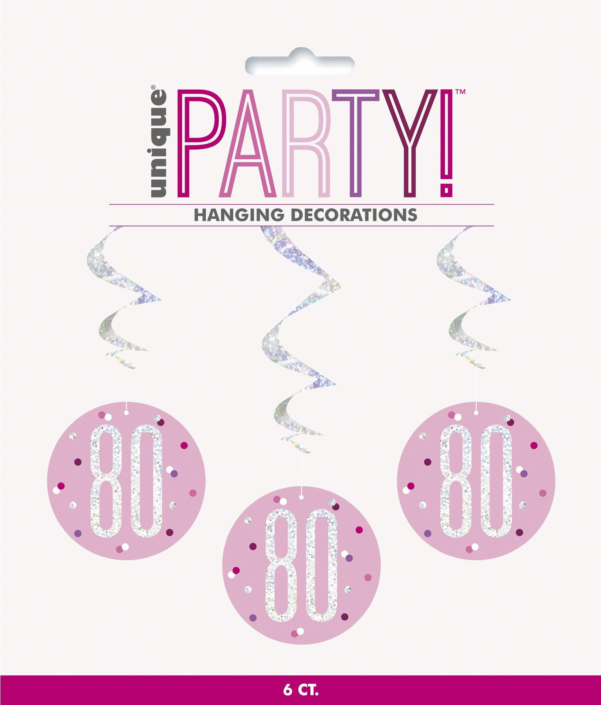 Unique Party 83816 83816-Wiszący błyszczący błyszczący różowy i srebrny dekoracje na 80. urodziny, opakowanie 6, różowy, wiek 80