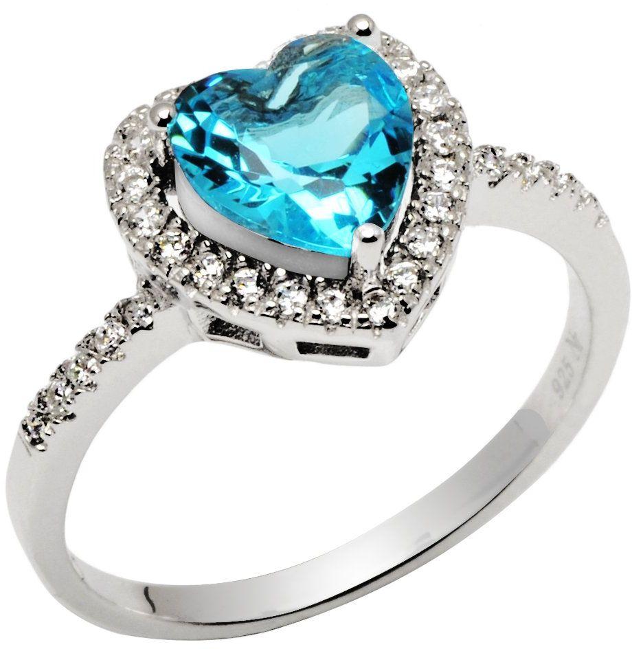 Srebrny Pierścionek Błękitne Serce